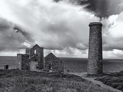 The old tin mine (Tim Ravenscroft) Tags: tinmine cornwall coast buildings chimney monochrome blackandwhite blackwhite hasselblad hasselbladx1d x1d