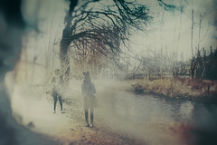 Meeting by a river (John Mee Photography) Tags: yellow retro girl woman river tree trees riverside art blur icm