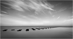 """Groynes"" on New Brighton Beach, Merseyside. (Charles Connor) Tags: newbrightonbeach newbrighton seascapes seadefences monochromeseascapes monochrome blackandwhite minimalism simplicity longexposure tenstopfilter tripod canon6d canonef24105mmlens"