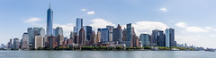 Manhattan Panorama (Oleg.A) Tags: usa newyork landscape window megalopolis water city outdoor aqua midday orange clouds hudsonriver sunny blue colorful town cityscape river tower nature viewpoint architecture metropolitain wall skyscraper manhattan panorama metro nyc america landscapes noon outdoors