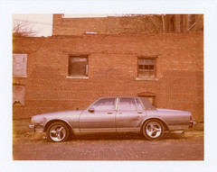 Cairo, IL (moominsean) Tags: polaroid 195 instant type690 expired022009 illinois cairo midwest winter car dents