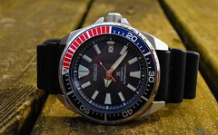 Seiko, Samurai. 3 (Leica XV) (Mega-Magpie) Tags: leica x vario outdoors wristwatch timepiece watch time seiko samurai wood dive diver automatic blue red japan 200m prospex srpb53