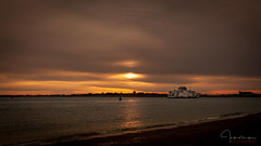 Sunset At Southsea...... (inkslinger15) Tags: boats hampshire hightide jetty lights ferry whitelink ripples redsky warmreflection surf