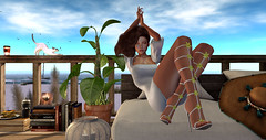 Carefree (Chelsea Chaplynski ( Amity77 inworld)) Tags: vanillabae strap flower shoes heels spring flair event equal10 nordeney dress erratic white yellow sky sun foxcity pose spoton daisy avatar chelsea secondlife