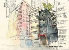 Abandoned Tenement Building along Des Voeux Road West (Gary Yeung HK) Tags: urbansketchers sai ying pun hong kong