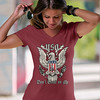 Don't Tread on Me. Eagle with Shield and Rattlesnake. Women's: Anvil Ladies' V-Neck T-Shirt. Independence Red.    Loyal Nine Apparel (LoyalNineApparel) Tags: 2a america billofrights colddeadhands cute dtom fashion fashionista gadsden gadsdenflag girly gunchick gungirl instagood libertarian liberty livefreeordie loyalnineapparel loyalnineclothes madeinusa shootingrange stylish teaparty tee teeshirt threepercenter tshirt wethepeople womensshirt womenwhoshoot