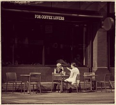 """""""A Hot Topic..... For Coffee Lovers"""". (Phil Dodd CPAGB BPE1*) Tags: xphotography fujixpro1 streetphotography birminghamcitycentre coffeeshop monochromephotography westmidlands streetscenes people coffeelovers streetlife xpro1 fujixf1855mmf284rlens street sepia xseries fujifilm citycentre fuji xshooter birmingham mono monostreetphotography xfzoomlens"""