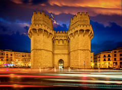 Old city gate in Valencia (anekphoto) Tags: valencia serranos de old torres city town spain tower gate serrano door ancient architecture urban europe landmark entrance spanish travel view antique tourism vacation wall night culture stone history road towers street exterior famous flag destination monument medieval castle community sightseeing touristic fort masonry arches fortified valencian palm places serrans