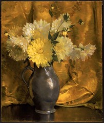 Laura Coombs Hills – Yellow Dahlias c.1927 (Museum of Fine Arts, Boston) (artshers) Tags: art artist board flowers herstory lauracoombshills museumoffinearts painter painting pastel stilllife woman yellowdahlias