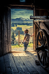 Knockin' on Heaven's Door - Part II (with colour) (freundsport) Tags: children kids sky boy allgäu mountain family colour nice sony deutschland junge light clouds street people familie kinder magic berge berg door tür country barn carriage sony7m3 free