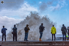 You never knew power did you? (alundisleyimages@gmail.com) Tags: newbrighton wirral uk storm waves people candid weather ports harbours promanade clouds water merseyside spectators observers power force naturesea photographers