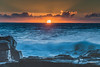 Sunrise Seascape with Sun (Merrillie) Tags: daybreak sunrise northavoca nature water rocks centralcoast morning newsouthwales waves earlymorning nsw sea avocabeach ocean rocky landscape northavocabeach coastal waterscape sky seascape australia coast dawn outdoors