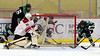 Goalie caught out to lunch... (R.A. Killmer) Tags: sru hockey goal score puck goalie ice acha black green