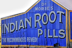 Dr Morse's Indian Root Pills. (Ian Ramsay Photographics) Tags: morpeth newsouthwales australia drmorses indianrootpills northamerican manufacturer ingredients disease blood surviving sign