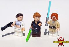 LEGO Attack of the Clones: Padmé, Anakin, and Obi-Wan (Saber-Scorpion) Tags: lego minifigures minifigs minifigure moc starwars legostarwars starwarslego attackoftheclones clonewars padme padmeamidala anakin anakinskywalker obiwan obiwankenobi jedi episodeii sw swlego legosw brickarms amidala