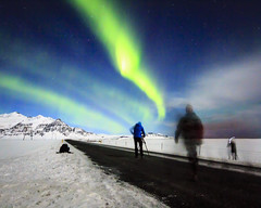 Green veil (georgemoga) Tags: aurora auroraborealis clouds iceland mountain night northernlights photographer road sky snow stars easternregion is