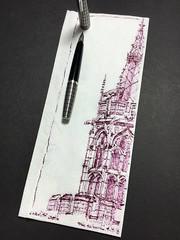 Cardiff Castle spire - napkin (schunky_monkey) Tags: illustration art penandink ink pen fountainpen drawing draw sketching sketch napkinsketch napkin stone gothic spire unitedkingdom wales cardiffcastle