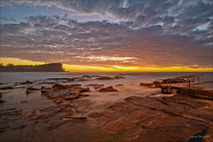 And eerie is the morning (JustAddVignette) Tags: australia avalonbeach beforedawn clouds colours headland landscapes light newsouthwales northernbeaches ocean rockpool rocks sand seascape seawater sky smoothwater sydney water waves