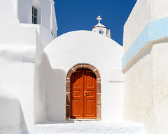 Santorini Greece Church Door (Daveyal_photostream) Tags: meandmygear mygearandme mycamerabag white d600 nikon nikor beautiful beauty stone chjurch vacation travel santorini greece architecture wall building cross sky bluesky window door gometricshapes geometric arch contrast dominantcolor churchdoor holy orthodoxchurch entrance