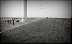 Au pied des éoliennes, Deltapark Neeltje Jans, Nederland (claude lina) Tags: claudelina nederland hollande paysbas zeeland debanjaard plage dune merdunord noordzee éolienne zeelande deltapark neeltjejans