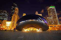 Chicago by night. Magnificent Cloud Gate (Andrey Sulitskiy) Tags: usa chicago illinois