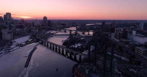 Cinematic VIew of Minneapolis Skyline - Aerial in 4K