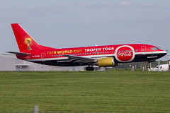 G-POWC // Fifa World Cup Trophy Tour (SimonNicholls27) Tags: fifa world cup trophy tour 737300 733 titan airways coca cola cocacola stansted stn egss