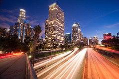 Blue hour of Financial District, Downtown Los Angeles in 2017 (tom@f) Tags: socal california ca usa us unitedstates unitedstatesofamericanightnightlightsnightview110freewaymidnightlongexposurelightstreamlighttrailbridgebuildingnight4thstreetinterchangelosangeleslaladowntownfinancialdistrictfinancialdowntownlosangeleslosangelesdownt sony nex nex5t apsc emount mirrorless sel1018widewideangle