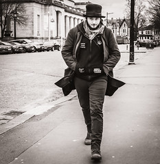 Dylan (raymorgan4) Tags: bob dylan top hat cnd beard fashion fujifilm fujifilmx100f fujifilmglobal blackandwhite monochrome street hands pockets strolling cool cardiff wales city hall centre neck scarf know your rights singers nashville skyline john wesley harding album cover antinuclear peace