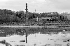 Reflecting the past (auqanaj) Tags: nikonf100 kodakgold200 20180406 analog amberg industriallandscape cewescanat72dpi industrielandschaft schwarzweis monochrome blackandwhite chimney fabrik factory schlackenberg deponie schlot