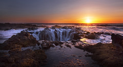 Dramatic Sunset at the Ocean (Thor's Well, Cape Perpetua, Oregon) (Sveta Imnadze) Tags: pacificocean capeperpetua nature landscape seascape sunset oregoncoast or thorswell