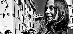 Happy. (Baz 120) Tags: candid candidstreet candidportrait city candidface candidphotography contrast street streetphoto streetphotography streetcandid streetportrait sony a7 fullframe rome roma romepeople romestreets europe women monochrome monotone mono noiretblanc blackandwhite bw urban life primelens portrait people pentax20mm28 italy italia girl grittystreetphotography faces decisivemoment strangers