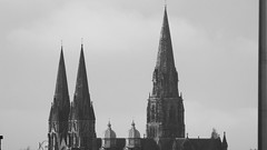 reaching to heaven (byronv2) Tags: edinburgh scotland edimbourg sunny sunshine spring blackandwhite blackwhite bw monochrome architecture building church saintmarys cathedral spire tower steeple skyline haze