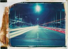 Lights at Hackerbrücke (Polaroid T669) (mmartinsson) Tags: 2018 night modelp bridge 75mm hackerbrücke tungsten film 669 analoguephotography expired mamiyasekor scan longexposure lighttrails cars epsonperfectionv700 polaroid mamiyauniversal instantfilm t669 münchen bayern tyskland de