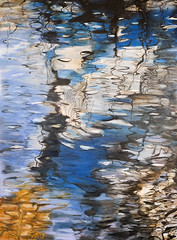River reflections - Oil on canvas + ink (Marian Pollock) Tags: australia victoria melbourne brighton reflections oil canvas ink river art painting trees riverbank colourful abstraction twigs drawing mildura nsw