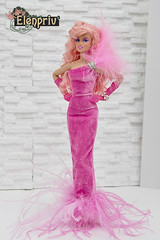 Jem Feather Dress by ELENPRIV (elenpriv) Tags: jem feather dress elenpriv pink gown elena peredreeva handmade clothes holograms color infusion integrity toys doll