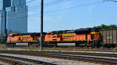 Dallas ~ BNSF Pair (Jungle Jack Movements (ferroequinologist)) Tags: bnsf burlington north sante fe 5928 9399 union station margaret hunt hill bridge dealey plaza jfk dallas texas tx usa united states america lone star locomotive loco locos power grunt performance diesel electric rail railway railroad rails line bogie engineer train engine appliance kw traction run freight load pull gunzel gunzelling gunzeller transit authority 列車 培养 la traîne die eisenbahn treno el tren электровоз 内燃机车 set platform pickup carriage trip stabled ballast class livery