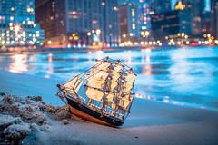 Maiden Voyage 121/365 (stevemolder) Tags: beach chicago 30mm ship voyage maiden canon strobist speedlite 365 may oak street lake michigan gorillapod