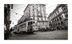 Milano-street_1 (onofrio386) Tags: milano tram citta gente persone street fermata biancoenero bn viraggio