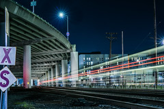 xs (pbo31) Tags: bayarea california nikon d810 color night dark black march 2018 boury pbo31 urban sanfrancisco city lightstream motion traffic roadway bridge caltrain rail train railyard station highway 280 ramp tunnel overpass showplacesquare soma infinity