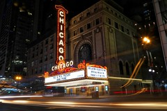 The Chicago Theatre, State Street, Chicago (Symbiosis) Tags: chicagotheatre chicago sign marquee statestreet traffic johnprine blur