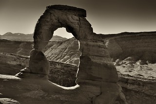 It's Good Seeing an Old Friend (Black & White, Arches National Park)