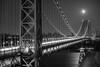 Blue Moon Rising Over the George Washington Bridge (Derek Boen) Tags: newyorkcity nyc georgewashingtonbridge gwb monochrome moon bluemoon bridge pentaxk1