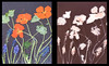 Grape hyacinth and nasturtiums (julesnene) Tags: agfamulticontrastpremiummcp310rc california flower juliasumangil nasturtium sunprint backyard blue diptych flora grapehyacinth julesnene lumen lumenart lumenprint muscari orange paintedbythesun photogram withoutalens agfa