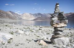 Mani stones at Pangong Lake (bag_lady) Tags: pangonglake ladakh jammuandkashmir india buddhist manistones rocksculpture buddhism