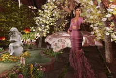 Springtime (kare Karas) Tags: woman lady femme girl girly diva elegant cute pretty beauty beautiful gorgeous outdoors nature spring virtual avatar secondlife event mesh colors gown nestbed fountain jumo cjcreations swankevent thesecretpose
