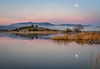 Trout Lake Moonset (optimalfocusphotography) Tags: usa sunrise siskiyoucounty nature reflection reflections fullmoon moon lake mountshasta northerncalifornia california tree sky fog landscape mist