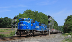 Blues Brothers (GLC 392) Tags: ns pittsburgh line emd sd60i cr conrail norfolk southern 591 empty coal train railroad railway blues brothers quality gone last ones 6723 6718 penn pa pennsylvania signal mp mile post 328