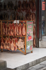 Dried Meat - Zhujiajiao Water Town (virtualwayfarer) Tags: shanghai shanghaishi china cn ancientvillage historicvillage oldcity watertown watervillage watercity canals exploring chinese chinesetourism tourism tour zhujiajiaowatertown zhujiajiao winter cold yangtzeriver food meat driedmeat driedfood airdried alexberger travelphotography sonyalpha a7rii travelphotographer