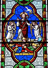Bibury, Gloucestershire - St Mary's Church - Stained Glass (Glass Angel) Tags: bibury gloucestershire stainedglasswindow stmaryschurch thomaswillement